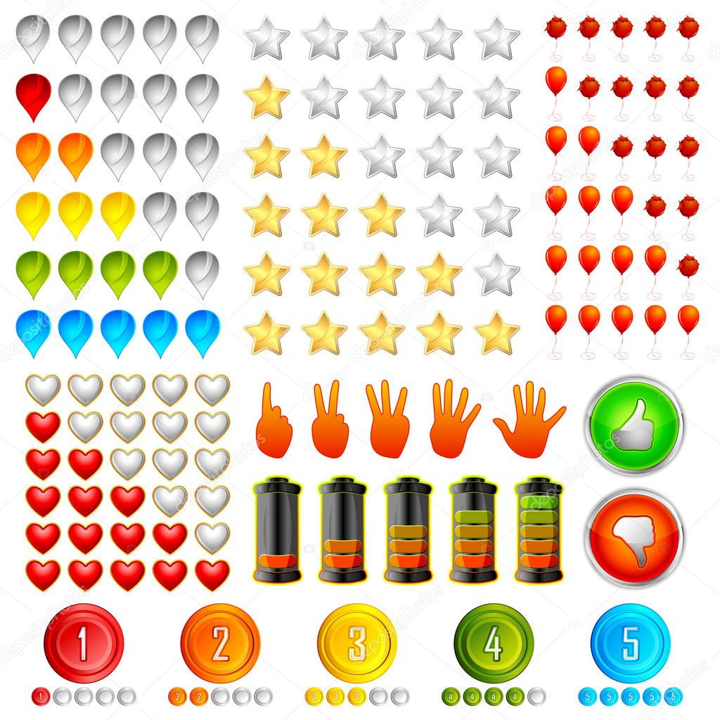 Illustration of set of different rating icon including star,hand,point,heart and battery — Stock Vector #5592127