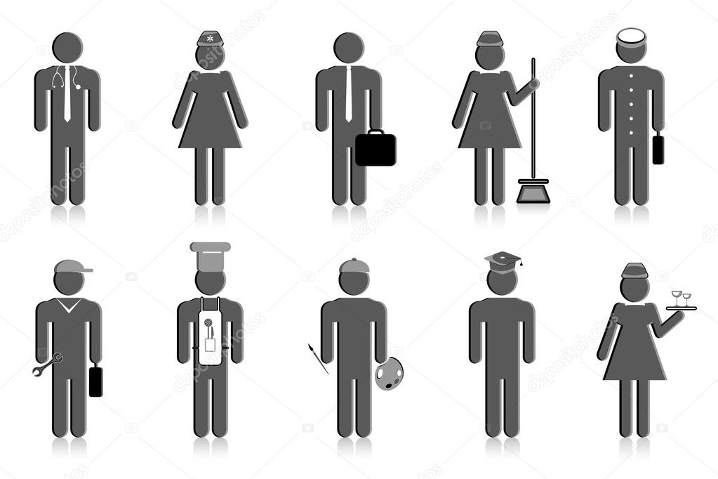 Illustration of set of icon of professional  Stock Vector #5592388