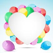 Gruppo di palloncino con cuore — Vettoriale Stock