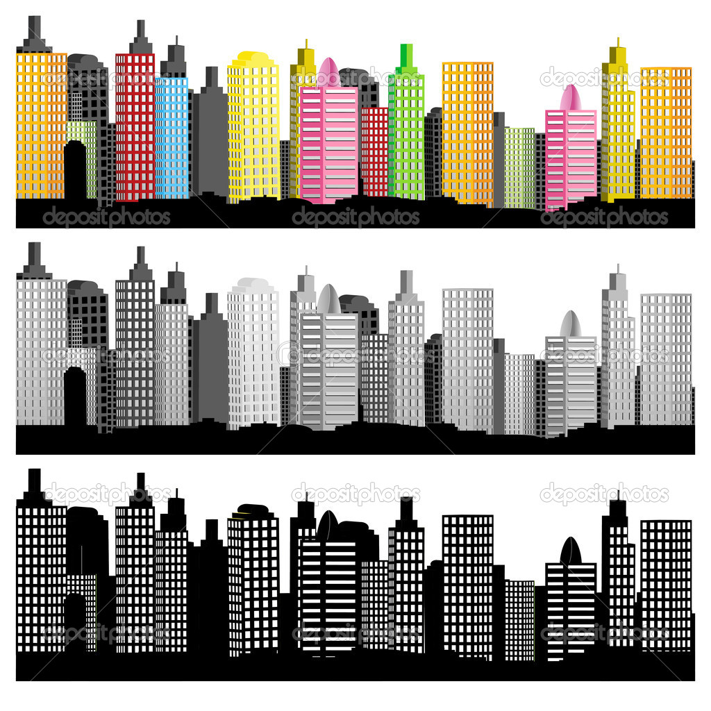 Illustration of set of city skyline on white background — Stock Vector #5671308