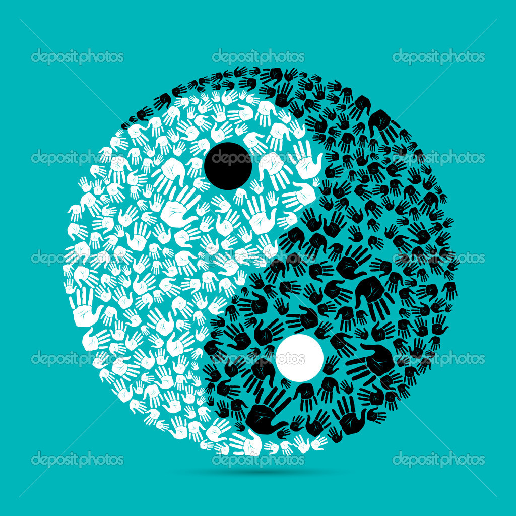 Illustration of yin yang made of human palm on plain background — Stock Vector #5762916