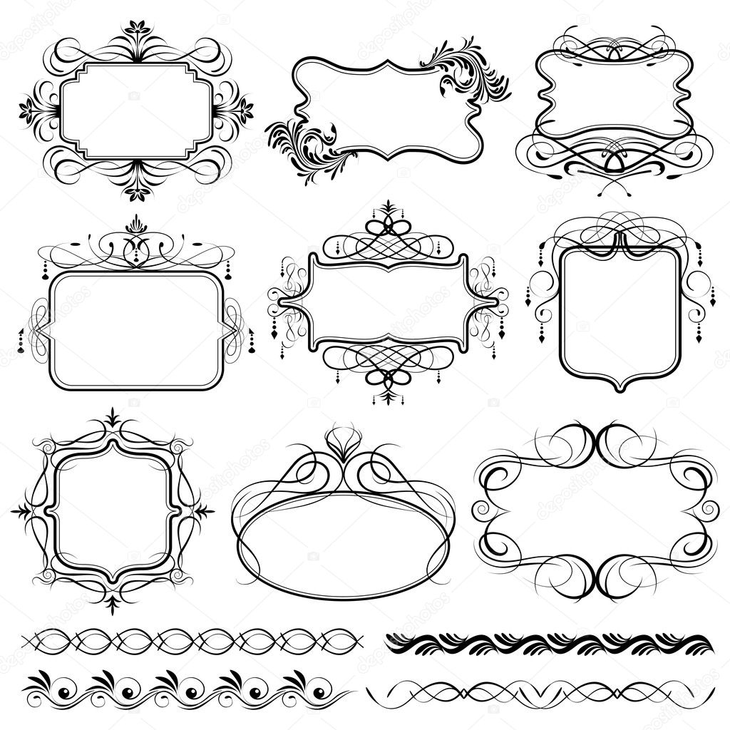 Illustration of set of vintage design elements for frame  Stock Vector #5787487