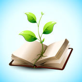 Plant Growing in Open Book — Stock Vector
