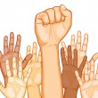Multi Racial raised Hands - Stock Vector