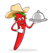 Red Chili Pepper with Cow Boy Hat — Stock Vector