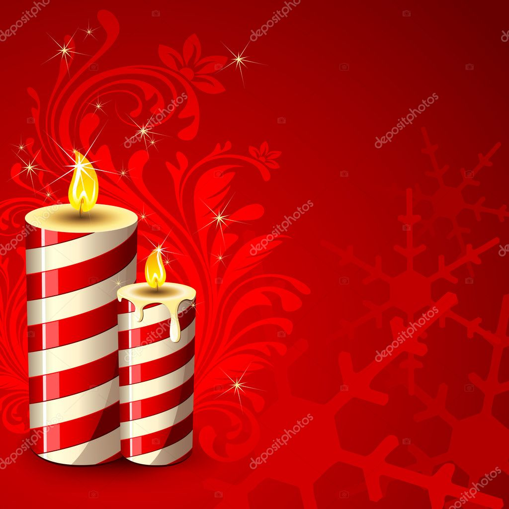 Illustration of decorative candle on abstract floral background  Stock Vector #5890825