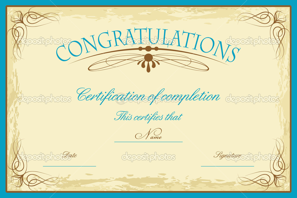Illustration of certificate template decorated with floral frame  Stock Vector #5890865