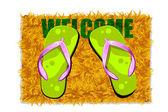 Feet on Door Mat — Stock Vector