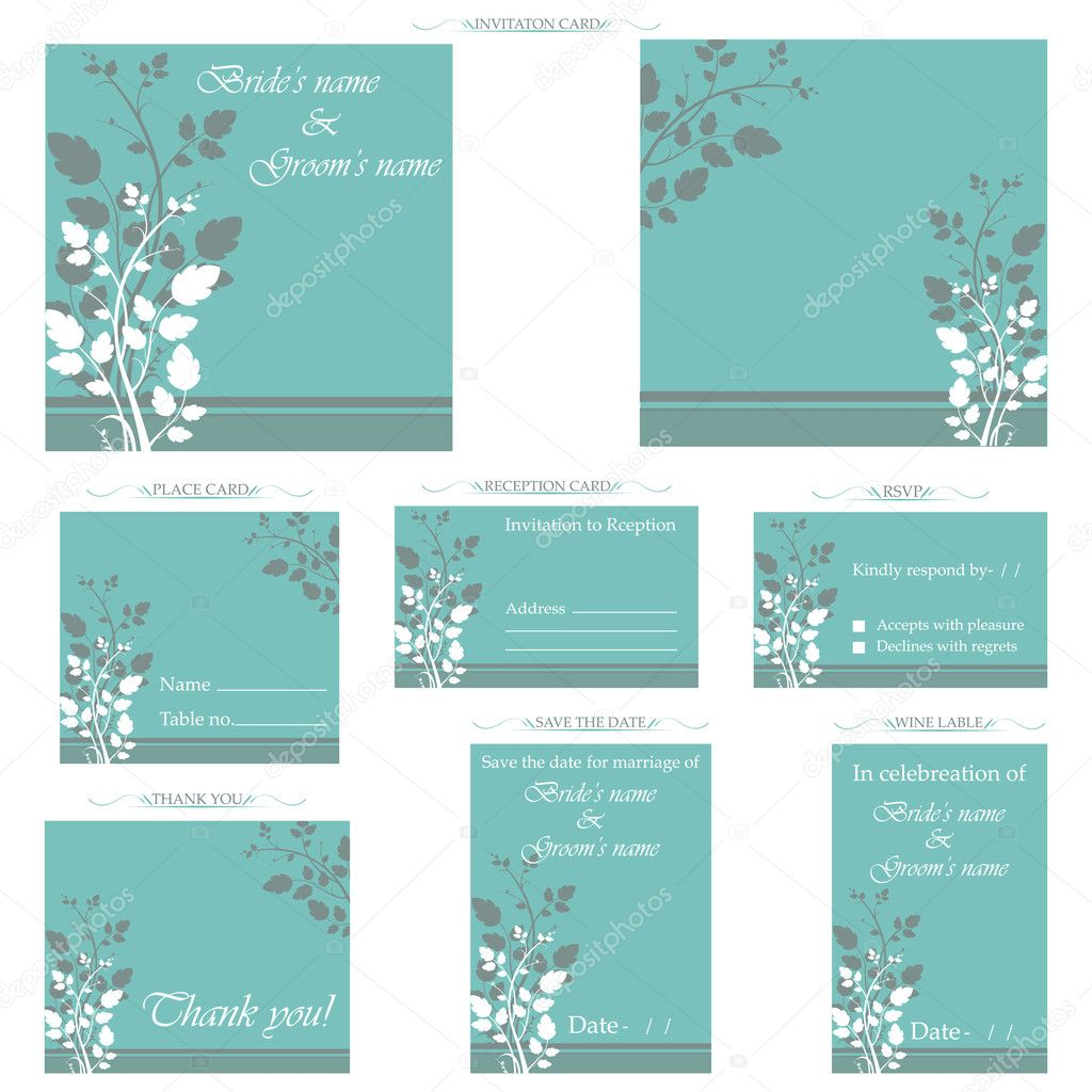 Illustration of set of wedding reception invitation card  Stock Vector #5921513