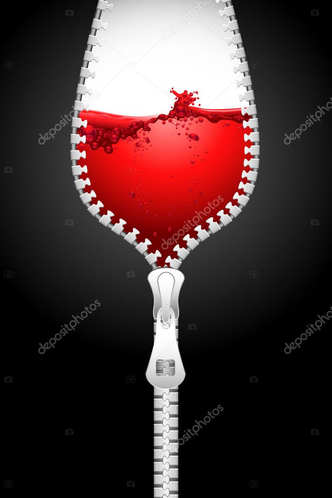 Illustration of opening zipper in shape of wine glass filled with splashing wine — Stock Vector #5921794
