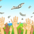 Raised Hand Catching Dollar — Stock Vector