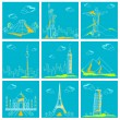 Set of Famous Monument around the World — Stock Vector #5995857