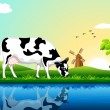Grazing Cow - Stock Vector