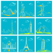 Set of Famous Monument around the World — Stock Vector