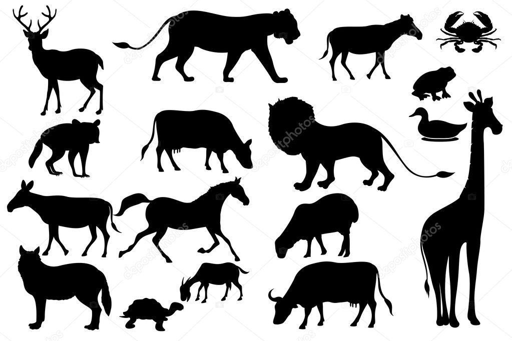 Illustration of set of animal silhouette in black — Stock Vector #5995397