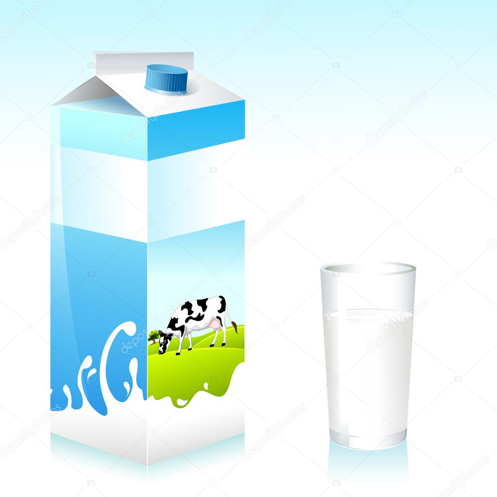 Illustration of cow on tetra pack of milk and glass — Stock Vector #6014012