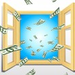 Dollar coming from Window — Stock Vector