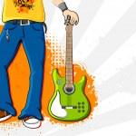 Man holding Guitar — Stock Vector