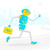 Robot running with Briefcase — Stock Vector