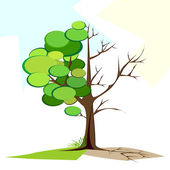 Green and Dry tree — Stock Vector