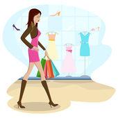 Shopping-dame — Stockvektor