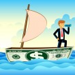 Businessman on Dollar Boat — Stock Vector #6111596