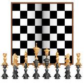 Figura de ajedrez con tablero — Vector de stock