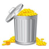 Dustbin full of Coin — Stock Vector