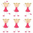 Girl in Different Mood — Stock Vector #6132548