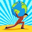 Royalty-Free Stock Векторное изображение: Business man holding Earth