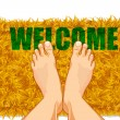 Feet on Door Mat - Stock Vector