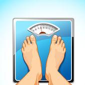 Feet on Weighing Machine — Stock Vector