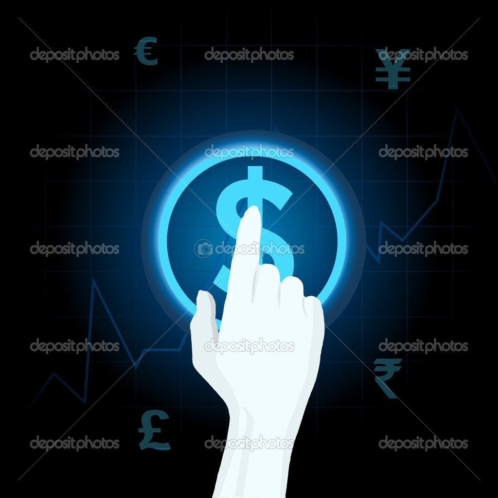 Illustration of human hand playing with different currency on touch sreen — Image vectorielle #6151505