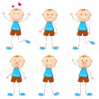 Boy in Different Mood — Stock Vector