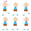 Stock Vector: Boy in Different Mood