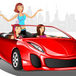 Urban Lady in Car — Imagen vectorial
