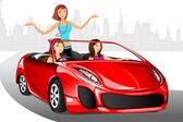 Urban Lady in Car — Stock Vector