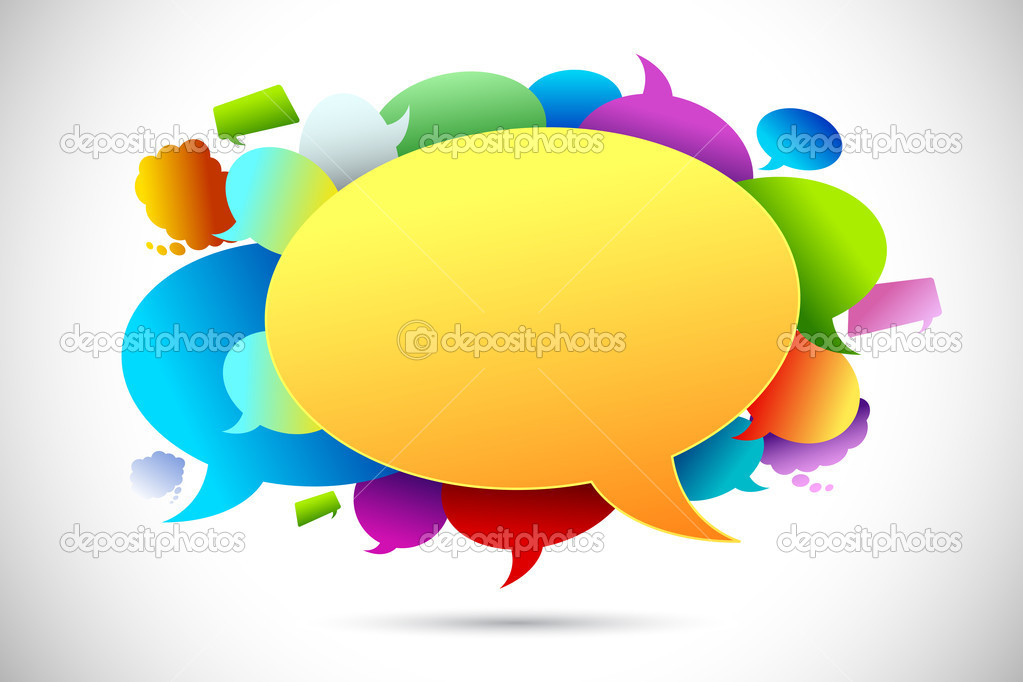Illustration of colorful chat bubble on abstract background — Stock Vector #6166729