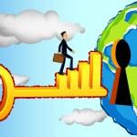 Business Man Entering Profitable World — Stock Vector #6211867