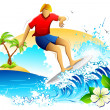 Young Man Surfing - Stock Vector
