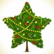Star shape Christmas Tree - Stok Vektr