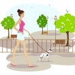 Royalty-Free Stock Vector Image: Lady walking with pet dog