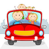 Family in Car — Stock Vector