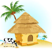 Hut with Cow — Vector de stock