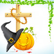 Stock Vector: Halloween Witch Hat with Pumpkin