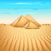 Pyramid in Desert — Stock Vector