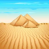 Pyramid in Desert — Stock Vector