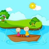 Niños pescando — Vector de stock