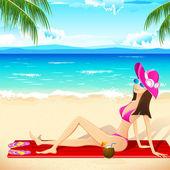 Lady taking Sunbath — Stock Vector