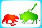 Uparty i niedźwiedzi na rynku — Wektor stockowy